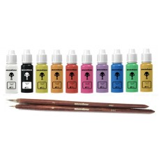 warcolours 'starter' paint set (bases) - 10 bottles one-coat paints & 2 brushes