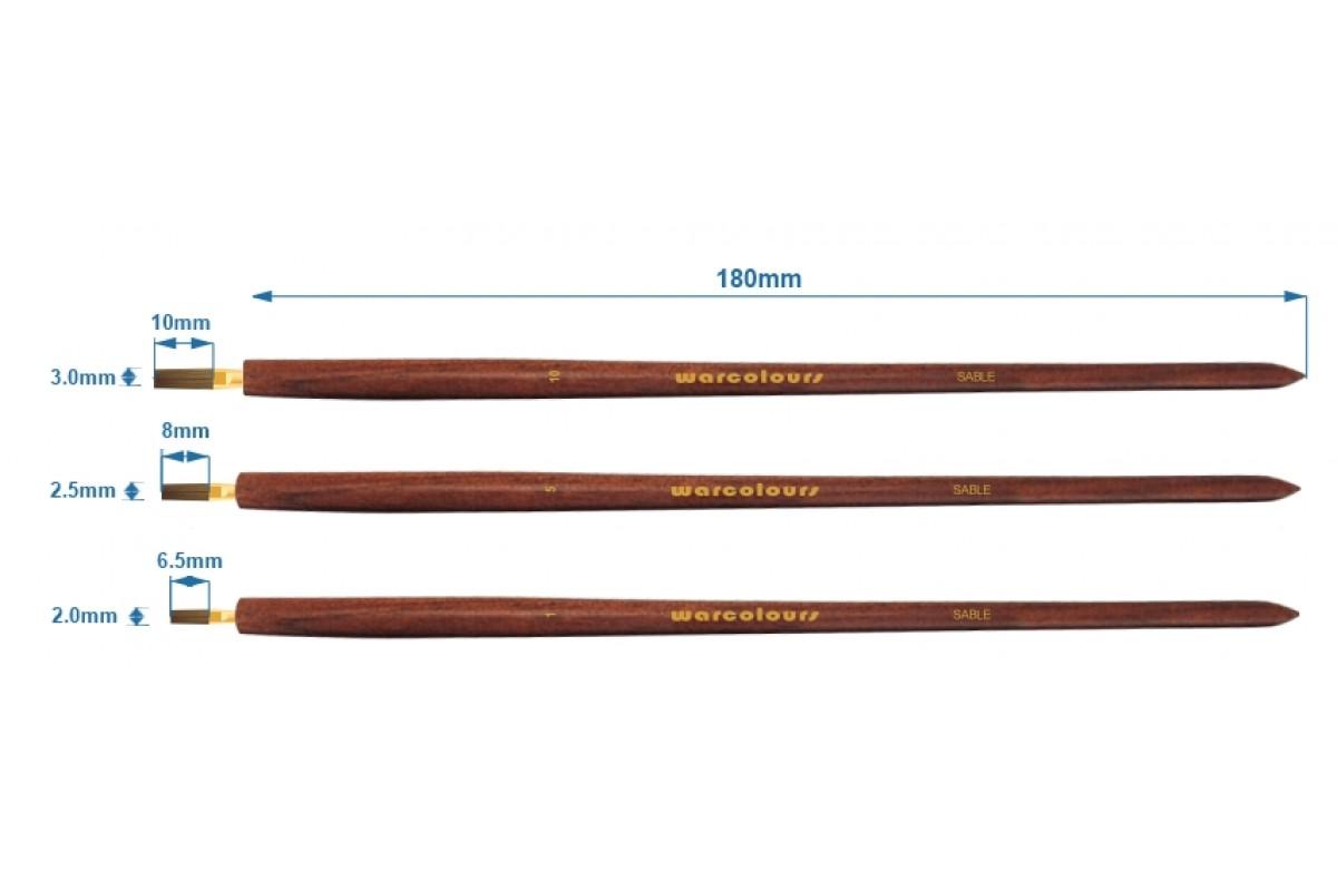 GAME STATE Singapore Warcolours Wood Handle Flat Kolinsky Sable Brush